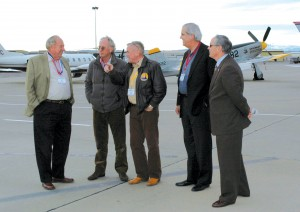 L to R: Clay Lacy, Joe Clark, Jerry Lips, Bill Luckett and Bill Watters visit on the Denver jetCenter East ramp on the afternoon of the awards ceremony.