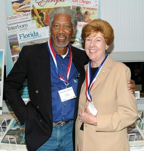 Morgan Freeman gets to know Colorado Aviation Hall of Fame enshrinee Emily Howell Warner.