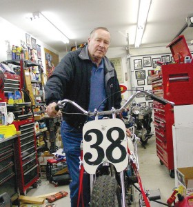 Ed Kretz Jr. shows off his private museum, starting with his father's famous Indian Scout that won the 1937 Daytona 200.