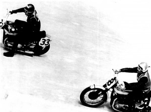 "Ed Kretz Jr., on a Harley-Davidson (left) and Ed Kretz, on his Triumph, race during the 1956 Daytona 200. ""That was the one time I beat him, just barely,"" said Kretz Jr."