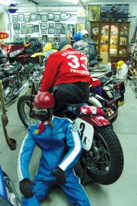 Ed Kretz Jr.'s small private museum includes motorcycles, photographs, trophies and original racing leathers.