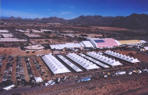 AllOut Aerial's R44 helicopter provided a panoramic view of the Barrett-Jackson auction site and the world's largest tent.