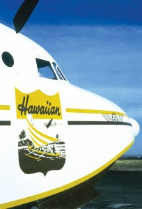 Billabong's G-111 displays the classic 1940s promotional logo of Hawaiian Airlines.