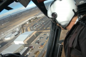 Richard Westra flies over Centennial Airport in ATS's Bell 206L3 LongRanger.