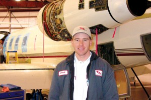Charles Masin, the company's shop foreman, supervises inspections for Learjets, Beechjets, Hawkers and many other corporate and private jets.