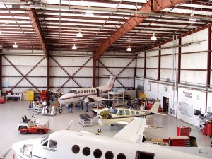 Stevens Aviation's 22,000-square-foot hangar is already cramped for space. The company hopes to have a new hangar constructed by 2009.