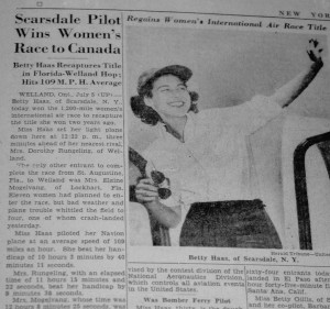 This newspaper clipping applauded 30-year-old Betty Haas' triumphant race to Canada in her Navion.