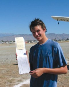 Parker Henderson began flying lessons at Sailplane Enterprises in Hemet, Calif., shortly after his 13th birthday. He soloed in a glider at 14 in October 2005.