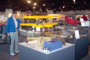 This six-foot wingspan model of a Curtiss P-6E Hawk is one of many large models in the museum.