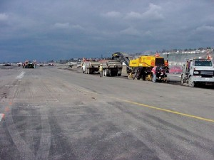 Runway repairs were underway in March 2001.