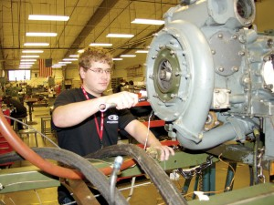 Erik Hager, Lynnwood aviation mechanic student, is building on his automotive background. He plans to eventually work with charter and airline aircraft, and is considering working towards an aviation management degree.