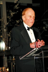 Al Ueltschi speaks at the Crystal Ball for Sight, after receiving the ORBIS Lifetime Achievement Award for his contributions to eliminating unnecessary blindness globally.