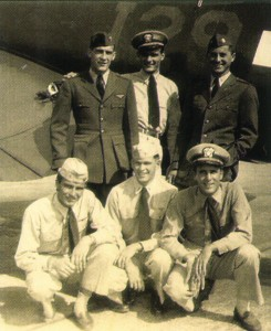 Dennis Weaver's naval squadron circa 1945: Back row, L to R: Lamont Davis, Dennis Weaver and Ed Ryan. Front row, L to R: Sam Craddock, Andy Latteier and Don Rickard.