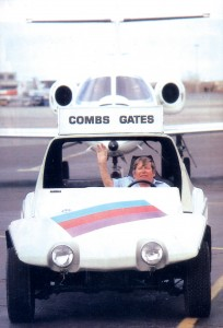 "A common sight at Denver's Stapleton Airport was J.J. Ingalls driving the Combs Gates ""follow me"" vehicle, with a corporate jet taxiing right behind him to its parking spot."