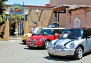 Bruce's modern Mini joins colorful brethren at the annual Southern New Mexico British Car Club show.