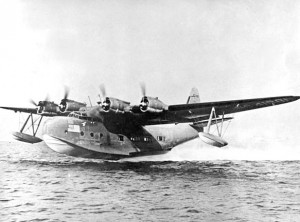 A Sikorsky S-44 flying boat takes off in the New York LaGuardia Bowery Bay in 1942.