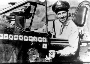 "Col. Robert Scott in his P-40 Warhawk in 1943, the year he wrote ""God Is My Co-Pilot."""