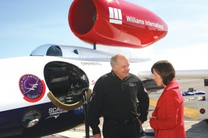 Steve Fossett discusses his attempt to break the aircraft long-distance flight record alongside the Virgin Atlantic GlobalFlyer.