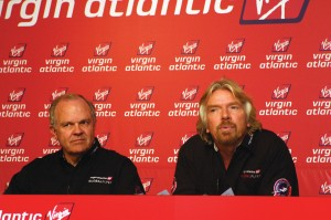 L to R: GlobalFlyer pilot Steve Fossett and Virgin Atlantic Chairman Sir Richard Branson field questions at the Kennedy Space Center preflight press conference.