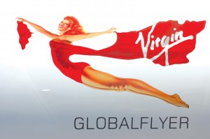 The symbol for GlobalFlyer sponsor Virgin Atlantic Airways is featured on the fuselage of the record-breaking aircraft.