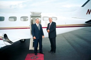 Jeff Rodengen has flown many celebrities and high-profile politicians around in his many aircraft, including then House Majority Leader Dick Armey, shown here boarding Rodengen's Conquest II.