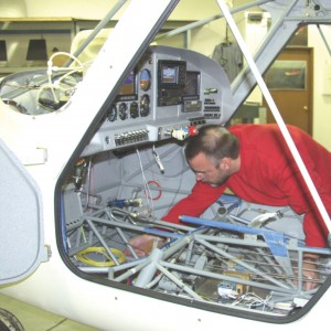 Marc Cook, editor of KITPLANES, works on his Sportsman 2+2 during a January session at Glasair's Customer Assembly Center. A new program makes it possible for a Sportsman to be built at the plant in two weeks, from start to first flight.