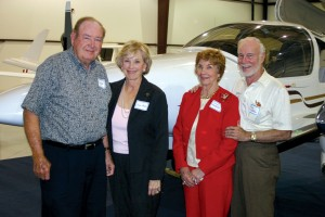 Dr. Selden Smith (left) of Wolfe City, TX, with wife, Alice, will use the diesel-powered Diamond DA-42 he bought on vacations and golf outings with friends Roy and Doris Masterson, Center, TX. Masterson, also a pilot, has helped maintain Smith's aircraft.