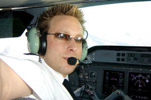 Captain Michael Husmann, Rita Husmann's son, gets ready to take off. He's a corporate jet pilot who also works with his mother marketing Lady Bug steam cleaning services for corporate jets.
