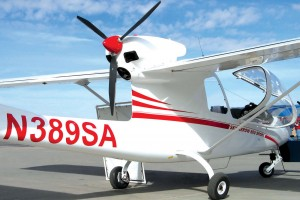 The wrap-around canopy of the Sky Arrow 600 Sport gives pilot and passenger excellent visibility, while the rear propeller pushes the aircraft through the sky at a cruise speed of 95 knots.