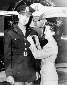 Eleanor McGovern pins silver pilot wings on her husband, newly-commissioned Second Lt. George McGovern, on April 15, 1944, at Pampa Army Air Field, Texas.