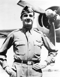 From his base in Cerignola, Italy, Lieutenant McGovern sent home this snapshot of himself in front of his B-24, the Dakota Queen.