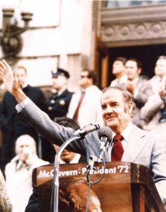 "The senator rallies ""McGovern's Army,"" with a speech in Syracuse, N.Y., Halloween 1972. When interrupted by church bells, McGovern exclaimed, ""The bells are tolling for Richard Nixon!"""