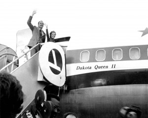 Just days before the 1972 election, George and Eleanor McGovern wave to the crowd from the steps of their campaign plane, the Dakota Queen.