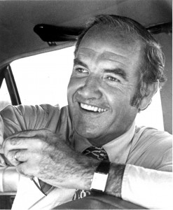 George McGovern grins during a high point in his 1972 grassroots campaign for the presidency.