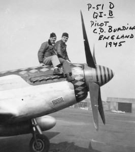Clinton Burdick poses with another pilot of the 356th Fighter Group atop Dodo, in 1945.