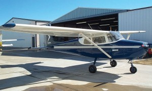 """Joe Nelsen's Cessna 172 is a straight-tailed Skyhawk, with a """"fastback"""" fuselage. In 1960, Cessna created the swept-back tail, the first major change in the model, which is still in use today. It became the Cessna 172A."""