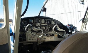 The instrument panel on Nelson's 172 is typical of the 1950s-era airplanes. There's an apparent random placement of instrument gauges and little room for new avionics. The up side of this low panel is the excellent visibility, which Nelsen, appreciates.