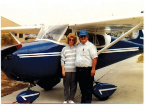 Two years after this 1990 picture was taken, Joe Nelsen, shown with his wife, Patty, had the wheel pants removed from their Skyhawk. That aircraft is the first production 172.