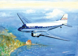 """Clay Lacy's DC-3 over Avalon Harbour."" The first flight of the famous Douglas DC-3 was made on Dec. 17, 1935. Seventy years later a commemorative flight of three DC-3s, led by Clay Lacy's beautifully restored DC-3 in United Airlines colors."