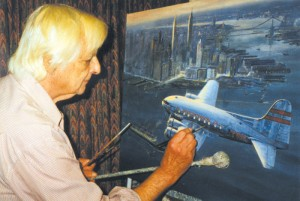 "Douglas Ettridge at work on ""Westward, Eastbound, 1939 Boeing Stratoliner."""