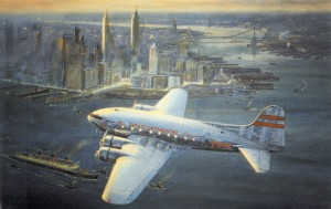 "The Boeing Model 307 Stratoliner was the first fully pressurized airliner to enter service. TWA purchased five for their transcontinental route. Ettridge's ""Westward, Eastbound, 1939 Boeing Stratoliner,"" shows one of TWA's airliners over the Manhattan sky"