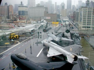 During flight operations, the air boss had this view from the Island Bridge.