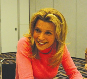 Vanna White meets guests before the show without makeup or her trademark sequined outfits.