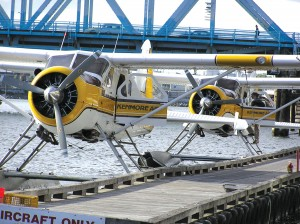 Planes docked at Kenmore Air Harbor on Lake Washington prepare for the day's flights.