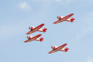 The AeroShell Team flies the North American AT-6. The World War II advanced trainer was used to teach thousands of American and Canadian pilots how to fly.