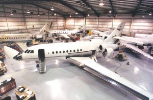 Premier Air Center is FAA-certified to maintain and repair all Dassault Falcon aircraft. Here, completions are being made in one of the FBO's large hangars.