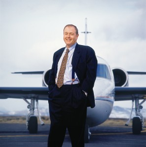 "MediaNews has procured five jets during the past two decades. The fourth was this Westwind II, seen behind CEO Dean Singleton. Singleton, who now utilizes a Dassault Falcon 2000, says a plane is ""just a tool, like a printing press."""