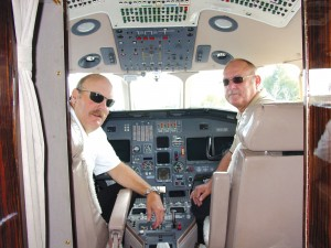 L to R: Gary Pavel and Gary Horst prep the Dassault Falcon 2000 for a flight to Oakland.