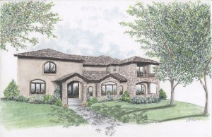 Working from blueprints, Andrea Parks creates detailed and accurate renderings of homes.