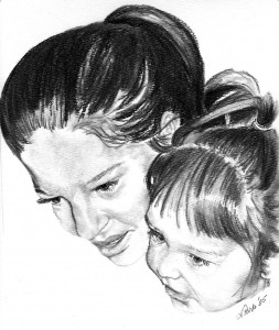 Many of Andrea Parks' clients remark how well she captures the spirit of their loved ones in her drawings, such as this hand-drawn portrait of a mother and daughter.